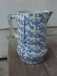 Antique Blue White Spongeware Pitcher AAFA | eBay