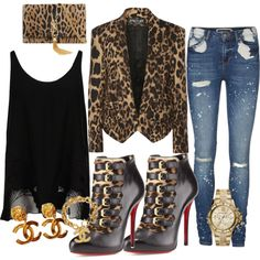 Leopard Print Fetish by Deranged Diva. A fashion look from February 2015 featuring STELLA McCARTNEY tops, Balmain blazers and Vero Moda jeans. Browse and shop related looks.