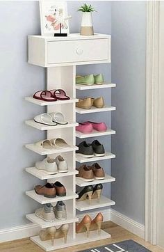 40 Simple Wooden Rack Idea to Store Your Shoes Collection is part of Diy shoe rack - There are three sorts of coat racks you may select from Well, it sounds as if you want a shoe rack The huge amount of different storage options Closet Bedroom, Bedroom Decor, Shoe Closet, Bedroom Ideas, Design Bedroom, Diy Shoe Rack, Shoe Racks, Entryway Shoe Rack, White Shoe Rack