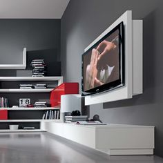 Porta Tv orientabile e apribile Rack Tv Stand Rack, Wall Tv Stand, Rack Tv, Living Room Tv, Living Room Modern, Living Room Designs, Tv Stand Measurements, Tv Stand Models, Wall Mounted Tv Unit