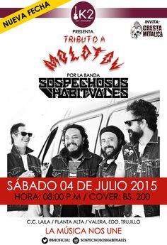 """Cresta Metálica Producciones » K2 Electro Rock Bar presenta: """"Sospechosos Habituales: Tributo A Molotov"""" (Valera) // 4 Julio 2015"""