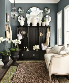 Gray/blue entryway with animal print accents