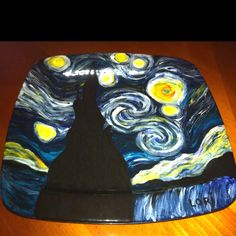 Starry night plate has emerged from the kiln