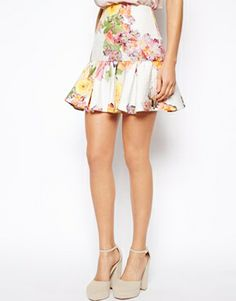 Image 4 ofASOS PETITE Exclusive Textured Print Peplum Hem Skirt