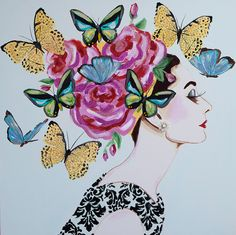 Audrey With Rose Headdress and Butterflies