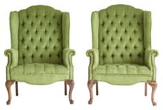Tufted Wingback Chairs, Pair