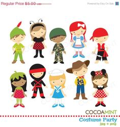 40 OFF SALE Costume Party Clip Art by cocoamint on Etsy, $3.00