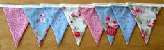 Shabby Chic Fabric Bunting made with Cath Kidston Rosali fabric - 2 metres - £10.00 plus postage