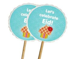 Zaffron Eid Ramadan Round Cupcake Toppers and Party Picks Cupcake Design 12 pack ** Click image for more details.(This is an Amazon affiliate link and I receive a commission for the sales)