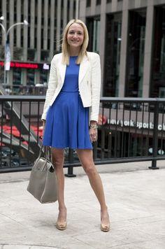Professional womenswear spotted on Avenue of the Americas: tibi dress, zara blazer, miu miu bag, stuart weitzmann shoes, David yurman bracelets