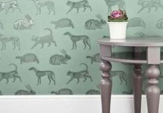 PaperBoy Animal Magic Green Wallpaper a striking design featuring a host of animals in a subtle green colour with a skeletal overlay only seen in the light. Unusual Wallpaper, Green Wallpaper, Print Wallpaper, Animal Wallpaper, New Wallpaper, Kids Bedroom Wallpaper, Bedknobs And Broomsticks, Green Animals, Animal Magic
