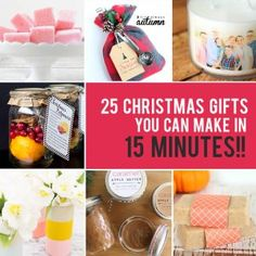 Want to make some Christmas gifts for family and friends but not sure you have the time? Today I've rounded up 25 easy Christmas gifts you can make in just 15 minutes! These quick and easy DIY gifts a Christmas Gift You Can Make, Easy Homemade Christmas Gifts, Diy Christmas Presents, Family Christmas Gifts, Easy Diy Gifts, Simple Christmas, Homemade Gifts, Gifts For Family, Christmas Crafts