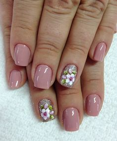 Spring Nails - 46 Best Spring Nails for 2018 - Hashtag Nail Art Nail Art Designs, Ombre Nail Designs, Nail Designs Spring, Nailart, Nagel Gel, Easy Nail Art, Flower Nails, Manicure And Pedicure, Glitter Pedicure