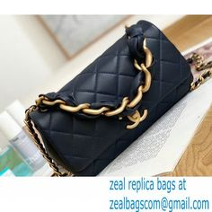 Chanel Shiny Lambskin Entwined Chain Flap Bag AS2388 Navy Blue 2021