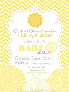 Little Sunshine Baby Shower Invitation, Gender Neutral, Printable file