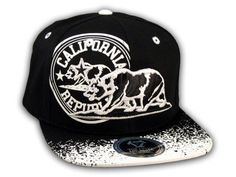 This is a High Quality California Republic Bear Black-White Flat Bill Snapback Hat from Top Level. It has Embroidered Cali Bear in on the Front! With California Republic in Print! Embroidered California State on the Side! And Cali Embroidered on Back Flat Bill Hats, Hip Hop Hat, California Republic, White Flats, Snapback Cap, Baseball Hats, Bear, 3d, Free Shipping