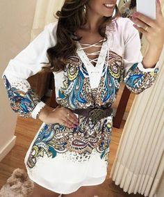 Stylish Long Sleeve V-Neck Lace-Up Printed Women's Dress