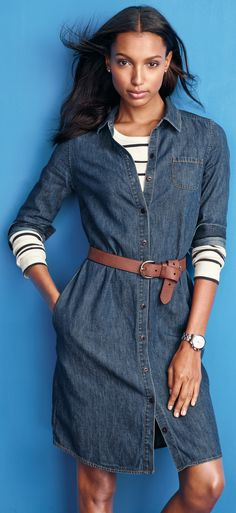 classic denim dress with stripes - http://www.boomerinas.com/2013/07/03/what-is-your-fashion-style-preppy-classic-or-boho/
