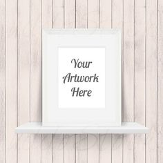 White Frame on Shelf for Wall Art Display Mockup Wood by UddoStock ...