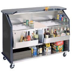 "Double Sink and Speed Rail  Lakeside 886 63 1/2"" Stainless Steel Portable Bar with Black Laminate Finish, 2 Removable 7-Bottle Speed Rails, and 2 40 lb. Ice Bin"