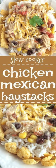These chicken mexican haystacks are a play on tradition haystacks and have a fun tex-mex twist thanks to the corn chips, beans, corn, and creamy chicken sauce. A fun family dinner where everyone can make their own. Plus, it's made in the slow cooker so di