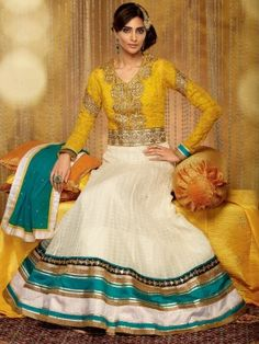 White Georgette Anarkali Suit With Heavy Embroidery And Kundan Work www.saree.com