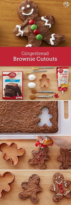 Cute and playful, these gingerbread-spiced brownie cutouts are an easy holiday project for the kids to help with! You can use traditional gingerbread people cookie cutters to shape the brownies and then get creative with decorations. Use extra brownie pie Christmas Snacks, Xmas Food, Christmas Cooking, Noel Christmas, Christmas Goodies, Christmas Candy, Christmas Crafts, Christmas Brownies, Christmas Parties