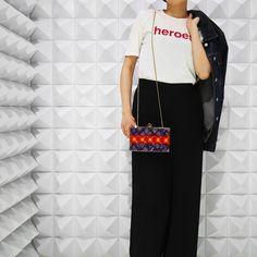 Clutch bag: Lolita Lorenzo Tops:90s Raf Simons Bottom:Hermes by Martin Margiela Denim jacket:90s Helmut Lang