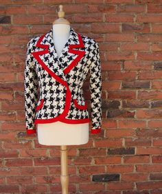 Black and White #Houndstooth Jacket with Red Trim by by fayeslipp, $50.00 #vintage