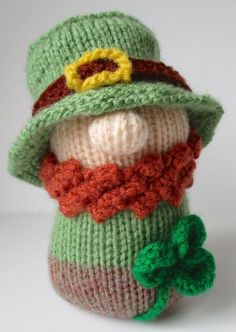 Knitting Pattern for Blarney the Leprechaun Toy - This Leprechaun by Amanda Berry is approximately 14cm tall (including the hat).