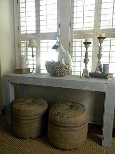 * Morning T *  Ohhhhhh, love those burlap stools, so cool!
