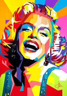 Portrait Acrylic, Abstract Portrait, Portrait Art, Abstract Art, Marilyn Monroe Pop Art, Pop Art Portraits, 3d Street Art, Cool Art Drawings, Buy Art