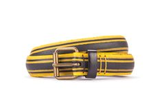 #2496 - Yellow and black belt from a spare race bicycle tyre, entirely handcrafted, iron branded and numbered. Strap folded up and stitched up with cotton colored strings.