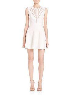 BCBGMAXAZRIA Aynn Cutout Fit-&-Flare Dress - Off White - Size