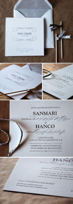 Classic, elegant letterpressed wedding invitation.