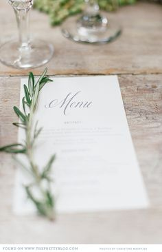 Italian inspired wedding menu | Photo: Christine Meintjes, Stationery: Elephantshoe Stationery Studio