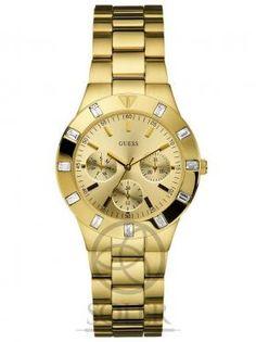 Reloj Guess de señora, color chapado con incrustaciones en cristal de swarovsky.