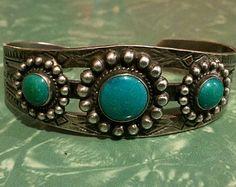 Vintage Navajo Silver & Turquoise bracelet, Southwestern, Native American style