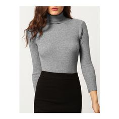 SheIn(sheinside) Grey High Neck Skinny Knitwear (€14) ❤ liked on Polyvore featuring tops, sweaters, grey, knit turtleneck sweater, grey turtleneck sweater, long sleeve knit sweater, grey turtleneck and grey sweater