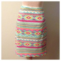 Ladies Turquoise Aztec Print Pencil Skirt RTS sz. 14. Available szs6-22    on Etsy, $34.00