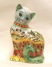 Italian Ceramic Art Pottery Figurine Big Cat Poppies Handmade in ITALY Tuscany
