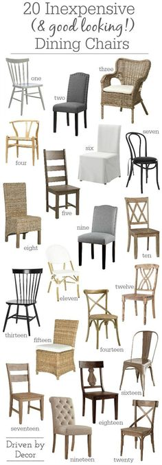 Home Interior 2019 Great post on where to find attractive and affordable dining room chairs along with links to 20 favorites! Interior 2019 Great post on where to find attractive and affordable dining room chairs along with links to 20 favorites! Kitchen Table Chairs, Farmhouse Dinning Room Table, Outdoor Dining, Side Tables, Cheap Kitchen Chairs, Chairs For Dining Table, Ikea Dining, Tufted Dining Chairs, Farmhouse Dining Chairs
