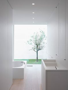 bright white // Minimal bathroom with a view, Private House by Pascal Bilquin & Minus _ Minimal Bathroom, White Bathroom, Modern Bathroom, Patio Interior, Bathroom Interior, Interior Design, Boffi, Interior Minimalista, Bathroom Toilets