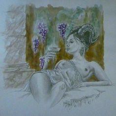 """"""" bacchante """" mine graphite et aquarelle sur papier"""