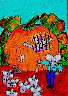 ACEO TW SEP Harvest Peter Peter Pumpkin Eater mice Original whimsical cartoon #Miniature   #aceo #art #eBay #Peter Peter #mice $nurseryrhyme