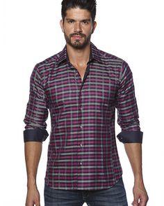 Dark pink and grey plaid shirt by Jared Lang designer