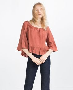 Image 2 of FRILLED SLEEVE JACQUARD TOP from Zara