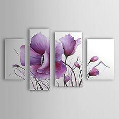 peints+à+la+main+peinture+à+l'huile+fleurs+floral+moderne+jeu+de+4+avec+cadre+étiré+1307-fl0162+–+EUR+€+115.49