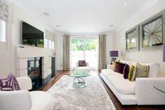 white-purple-beige long narrow living room interior decorating