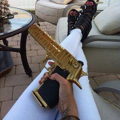 gold plated leopard printed stunning gun